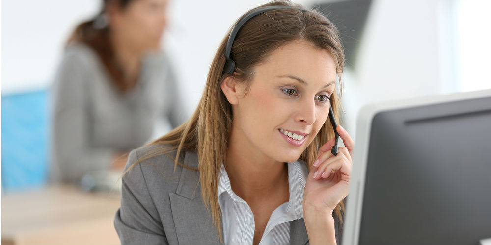 A call center agent on the phone