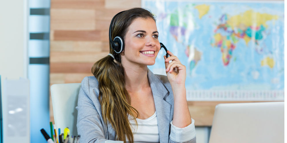 Woman offering customer service over the phone