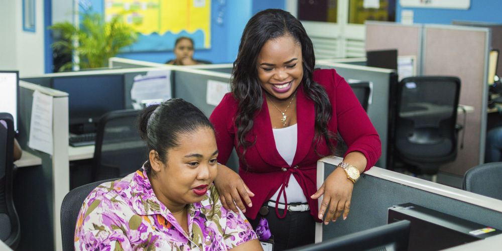 Happy contact center employees at work